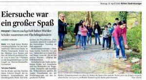 Presseartikel Ostereiersuche der Flüchtlingshilfe WIehl und der Flüchtlings AG im Wiehlpark